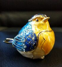 Enameled Pewter Bejeweled Trinket Box Robin Bird diamond rhinestones fancy bird