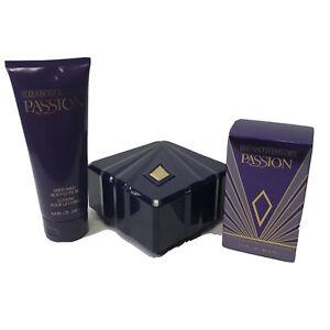 Elizabeth Taylor's Passion Spray 1.5oz Body Lotion 6.8oz Body Powder 5oz