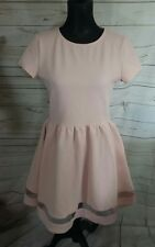 Madamoiselle R Womens Dress UK10 Nude Pink Lace Hem Textured Skater rrp£39