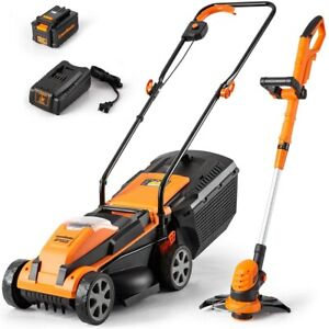 LawnMaster Lawn Mower / String Trimmer Combo Tool Kit 24V MAX   4.0Ah Garden
