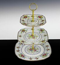 VERY NICE ROYAL ALBERT PETIT POINT PATTERN 3 TIER CAKE PASTRY STAND