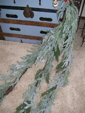 NWT 6'  Snow Ice Fir Cedar Pine Evergreen Swag Christmas Garland Tied Twig Base