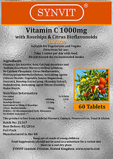 Synvit ® Vitamina C (Bajo Ácido) 1000mg con ROSEHIPS & Bioflavonoides Cítricos x 60