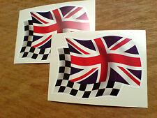 UNION JACK & Chequered Wavey Flag Motorcycle Car Stickers Decals 2 off 80mm