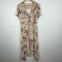 Zara Woman Dress Medium Beige Floral Flutter Short Sleeve V-Neck High Low Sheer