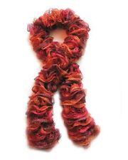 Fashion Knit Ruffle Scarf Red Heart Sashay Yarn Salsa-Orange,Red,Maroon