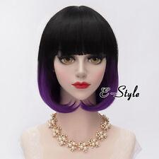 Fashion 30CM Black Mixed Purple Short Wavy Lolita Lady Cosplay Wig With Bangs
