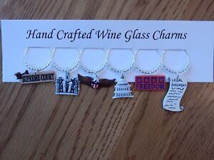 """Washington DC,""Senate,Judge"". Set of 6 hand crafted wine glass charms"