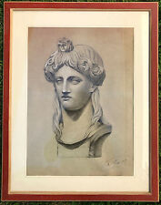 """Antico DISEGNO MATITA  1879   """"Bozzetto Preparatorio"""" Busto Femminile Firmato"""