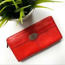 FOSSIL Marlow Red Leather Zip Clutch Wallet EUC