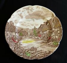 """Brown Transferware JOHNSON BROS Old English Countryside 10"""" Plate Cottage"""