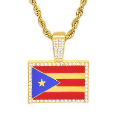 "Men's Gold Tone Iced Bling Puerto Rico Flag Pendant 24"" Chain Necklace HC 1046 G"