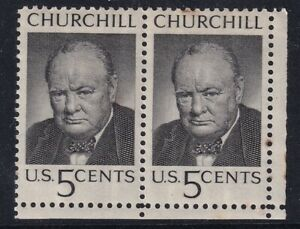 US 13 MAY 1965 WINSTON CHURCHILL JOINED PAIR OF COMMEMORATIVE STAMPS MH