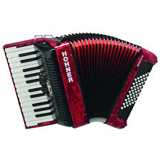 Hohner Piano Accordion Bravo II 48, Pearl Red, with Gig Bag & Straps