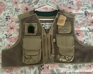 COLUMBIA PFG Men Fishing Vest - TAN - LARGE -  Made in Korea