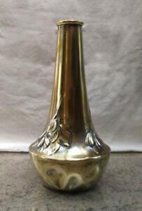 vaso Kaiser latta ottonata con fogliame vintage art noveau 1920/30