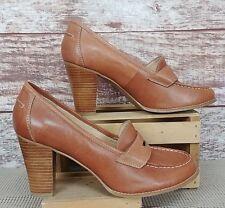 3652a511185d Avenue Cloudwalkers Morgan Womens Penny Loafers Heels Tan Leather Sz 11W EUC