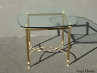 Vintage French Provincial Brass Plated Gold End Table