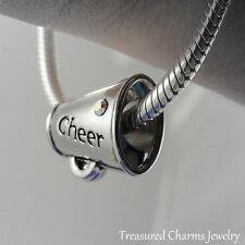Silver CHEER Megaphone Cheerleader LARGE HOLE BEAD CHARM fits EUROPEAN Bracelet