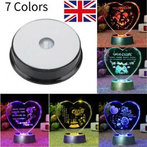 LED Seven Color Light Base Stand For Crystal Ornament Display Decoration new uk