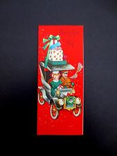 Vintage Unused Xmas Greeting Card Lovely Couple with Presents Driving an Old Car
