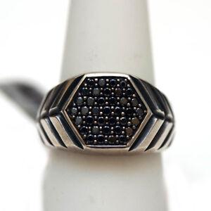 DAVID YURMAN Mens New Modern Chevron Black Diamond Hexagon Signet Ring 10