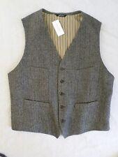 BANANA REPUBLIC Tailored Fit black herringbone tweed waistcoat vest 44R NEW