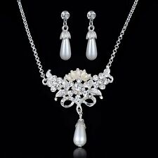 Shining Pearl Rhinestone Crystal Butterfly Pendant Chain Necklace Earrings Set