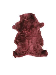 Genuine Burgundy Thick Real 100% Sheepskin Rug Luxury British Throw Pelt