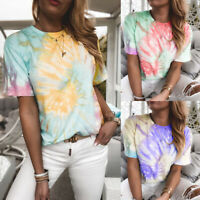 Women's Color Printed Short Sleeve Tops T-Shirt Ladies Casual Loose Blouse Tee