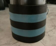 Striped Grommets Osfa Unisex Vintage Adjust Handmade Leather Cuff Black and Blue