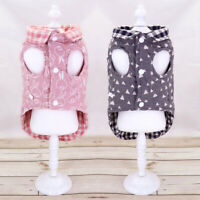 Grid Puppy Small Dog Coat Clothes Winter Warm Dog Hoodie Jacket Reversible Type