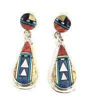 Native American Sterling Silver Navajo Handmade Multicolored Inlay Earrings