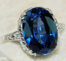 5CT Blue Sapphire 925 Solid Sterling Silver Edwardian Style Ring Jewelry Sz 8