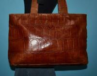 JOOP! Brown Croco Embossed Leather E/W Shoulder Carryall Tote Shopper Purse Bag