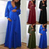 Women Pregnant Maternity V-Neck Long Sleeve Solid Ruffles Frenulum Sexy Dresses