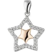 Anhänger Sternchen im Stern mit weißen Zirkonia, 925 Silber teilrotvergoldet