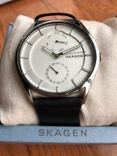 NWT  Skagen SKW6382 Holst Black Leather Multi Function 40mm Titanium Watch