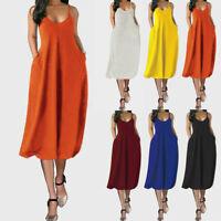 Women Spaghetti Midi Dress Plus Size Sleeveless Pockets Camisole Sundress Ceng