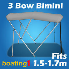 3 Bow 1.5m-1.7m Grey Boat Bimini Top Canopy Cover With Rear Poles & Sock
