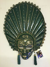 XL Green & Gold Mardis Gras Carnival Mask Wall Hanging ~ Tassels & Glitter 14453