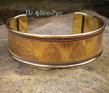 Celtic Charmed Triquetra Trinity Knot Wide Cuff Bracelet Golden Brass Copper
