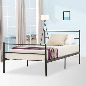 Bedroom Twin Size Platform Metal Bed Frame Foundation Headboard Furniture