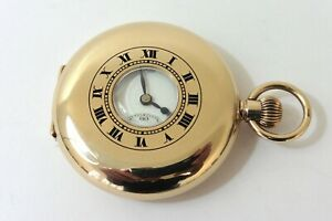 1930 GENTS 9K GOLD IWC PEERLESS H6 1/2 HUNTER POCKET WATCH IN MINT CONDITION