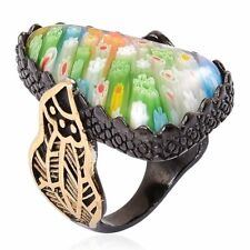 MULTI COLOR GLASS MURANO MILLEFIORI BLACK ION STAINLESS STEEL RING SIZE 7 CHUNKY