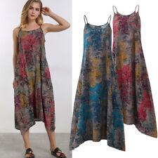 ZANZEA Women Summer Plus Size Floral Maxi Boho Party Beach Long Dress Sundress
