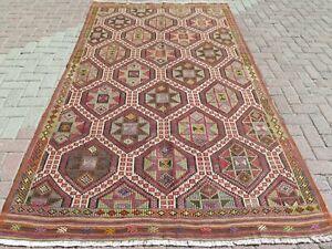 "Vintage Turkish Kilim Rug, Kelim, Area Rug, Large Rug, Carpet, Teppiche 64""x109"""