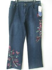 $69 DIANE GILMAN DENIM BLUE FLORAL & BUTTERFLY EMBROIDERED JEANS SIZE 14P - NWT