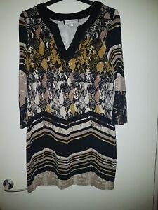 Principles by Ben de lisi Petite Dress, Size 10, Black/Mustard, Animal Print...