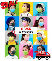 [6 Pack] Breathable Washable Reusable Kids Face Mask Protection Mouth Cover